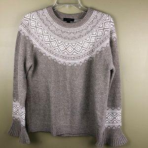 J crew Wool Fair Isle bell sleeve sweater M